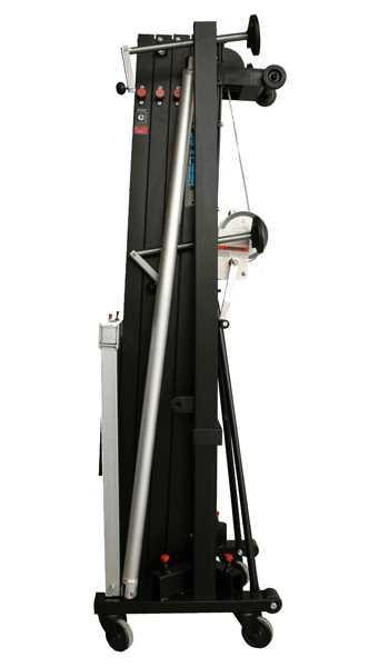Aluminium front loading tower w/ double handle winch. Blk
