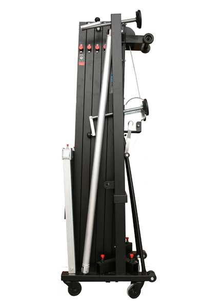 Aluminium front loading tower with double handle winch. Blk