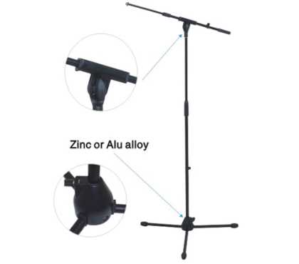 Microphone Stand. Adjustable. Black.