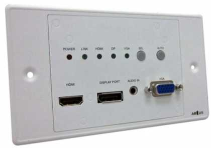 3 input HDBT Auto Wallplate Scaler/Switcher TX
