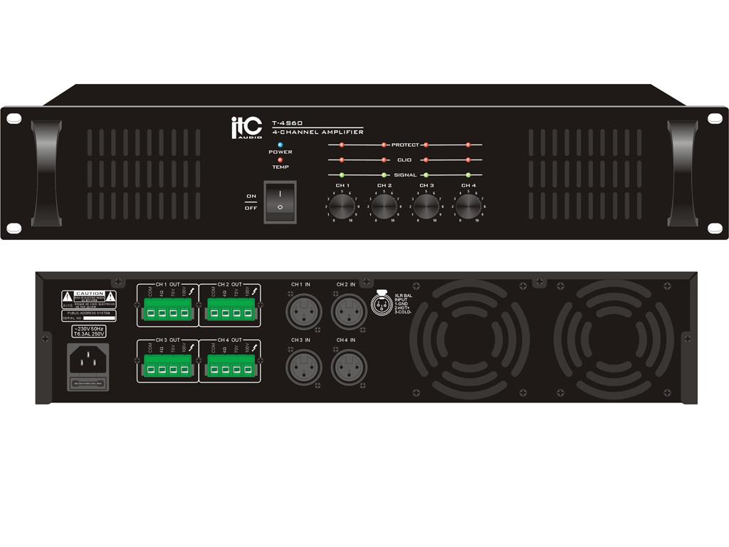 4 Channel X 60 Watt Amp 100v 4ohm Balanced Inputs
